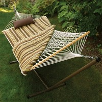 SheilaShrubs.com: Algoma Rope, Stand, Pad and Pillow Combo - Brown/Beige/Off-White 8911E by Algoma: Hammocks