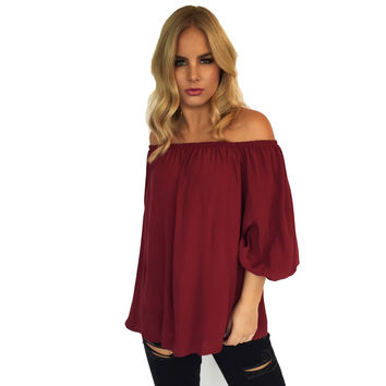 Move Aside Off Shoulder Blouse In Burgundy
