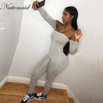 NATTEMAID Sexy Off Shoulder Jumpsuits Women Long Sleeve stretchy solid Rompers Jumpsuit Female Elastic women Overalls