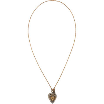 Silver & Gold Heart Locket Necklace