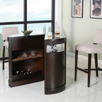 Knox collection round dark cherry finish wood bar unit with glass top and shelves