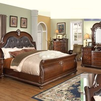 4 pc Charleen collection Cherry finish wood Queen sleigh bed set with ornate carvings and tufted headboard
