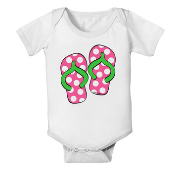 Cute Polka Dot Flip Flops - Pink and Green Baby Romper Bodysuit