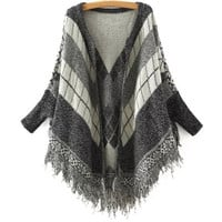 Plaid Print Batwing Sleeve Fringed Knitted Cardigan