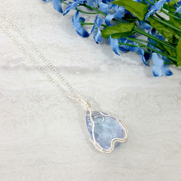Wire Wrapped Pendant, Teardrop Necklace, Light Blue Necklace, Something Blue Jewelry Gift