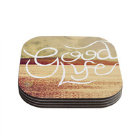 "Rachel Burbee ""Good Life"" Tan Brown Coasters (Set of 4)"