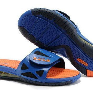 Nike Air LeBron Slide 78251460 Blue/Orange Casual Sandals Slipper Shoes Size US 7-11
