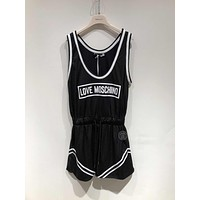 LOVE MOSCHINO Fashion Black Mesh Romper
