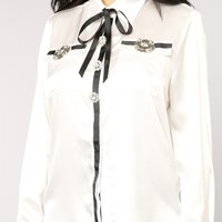 Mon Amour Button Down Top - White
