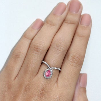 Halo Engagement Ring, 14K White Gold Ring, 0.4 CT Pave Diamond Ring, Pink Sapphire Ring, Unique Engagement Ring, Pear Shaped Ring