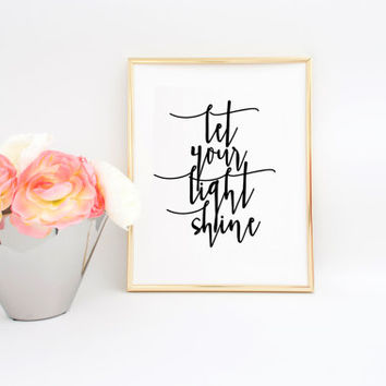 Bible Cover Bible Verse Wall Art  Matthew 5:16 Let Your Light Shine Bible Verse Print Matthew Print Bible Verse Art Nursery Wall Art Quotes