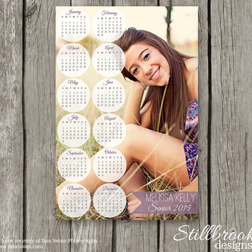Senior Calendar Template 2015/2016 - Senior Template Photo Year Calendar - Photoshop Wall Calendar for Photographers - YC06