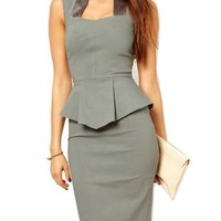 WIIPU Women grey Rockabilly Bodycon Business knee-length Pencil Dress(J416)