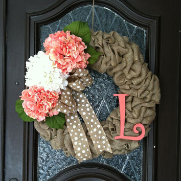 Spring Wreath, Hydrangea Wreath, Burlap Spring Wreath, Personalized Spring Wreath, Coral Spring Wreath, Easter Wreath, Burlap Spring Wreath