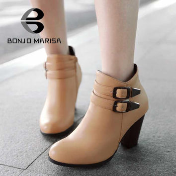 Women Ankle Boots Double Buckle Platform Female Shoes Vintage Style Side Zipper Winter Warm Med Thick Heels Big Size 34-43