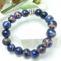 Natural Orange Sodalite Blue Gemstone Stretch Bracelet Small 6 inch