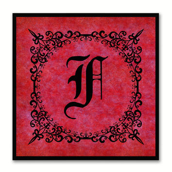 Alphabet F Red Canvas Print Black Frame Kids Bedroom Wall Décor Home Art