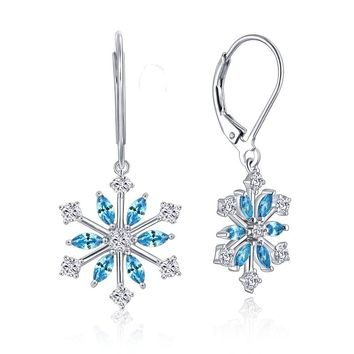 YL Snowflake 925 Sterling Silver Earrings for Women Fine Jewelry with Blue Spinel Natural Stone Wedding Party Earrings