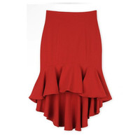 New Summer Skirt Women Sexy High Waist Skirt With Fish Tail Short Before Long After Casual Skirt For Girl Black And Red