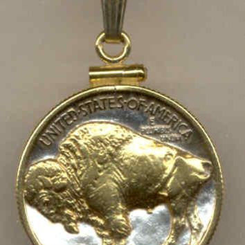 2-Toned Gold on Silver Old U.S. Buffalo nickel  Necklace