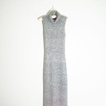90s grey knit turtle neck gray long maxi dress sleeveless, 1990s spring fashion boho bohemian hipster soft grunge urban outfitters 2014
