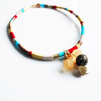 Statement necklace - Modern multicolored necklace, Red colorful necklace, Romantic and elegant necklace, Unique and classy necklace