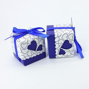 100pcs Royal Blue Wedding Candy Box Sweet Heart We