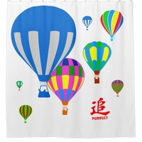 Hot Air Balloons in the sky - Pursuit - on white Shower Curtain