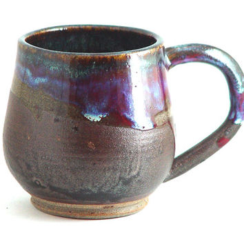 "Unique Coffee Mug \ Tea Cup Large Handled 10 ounce oz pottery, Dark Purple & Oiled Bronze Color, ""Royal Flush"", Wheel Thrown Pottery ceramic"