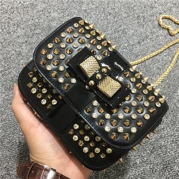 DCCK Metallic Rivet CL Christian Louboutin Chain Strap Sweet Charity Evening Bag Multicolor