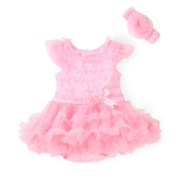 Summer Girls Dress Newborn Baby Clothes Princess Girl Ruffle Tutu Party Dresses for Toddler Infant Dress with Headwear
