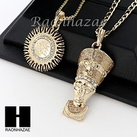 MEN ICED OUT ALLAH & NEFERTITI PENDANT BOX CUBAN CHAIN DOUBLE NECKLACE SET SD06