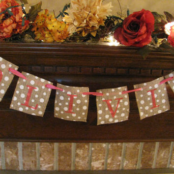Burlap with Polka Dots Personalized Name Banner Can Custom Letter and Ribbon Color Cute Nursery Decoration Baby Shower Gift (BU5)