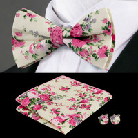 Men's Adjustable Print Colorful Bow Ties Hanky Cufflinks Sets For Men`s Formal Wedding Party Groom
