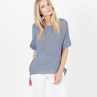 Alexa Split-Back Blouse (Chambray)