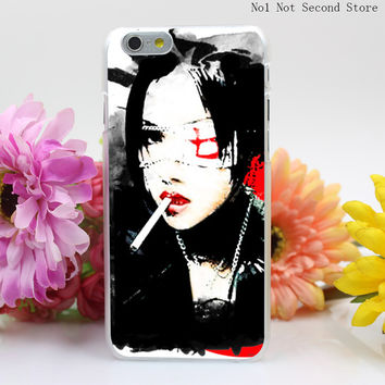 604QA Japanese Firl With Cigarette Hard Clear Transparent Cover for iPhone 4 4S 5 5S SE 5c 6 6s 7 7 Plus Phone Cases