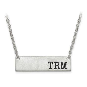 Personalized Brushed and Antiqued Finish Initial Monogram Bar Necklace