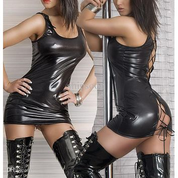 New Women Latex Dress Female Vest Leather Dress Open Back Pole Dance Costume Sexy Faux Leather Mini Dress