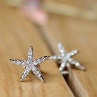 Star Fish Rhinestone Fashion Earrings | LilyFair Jewelry