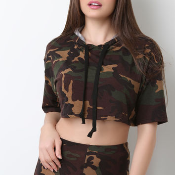 Camouflage Hooded Crop Top