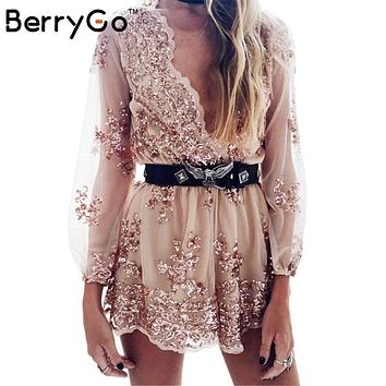 Women's Sequin Tassel short mesh bodysuit summer beach club elegant jumpsuit rompers embroidery leotard