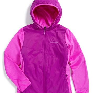 Girl's Columbia 'Pearl Plush Hybrid' Water Repellent Hooded Jacket,