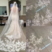 New White Ivory Cathedral Length Appliques Lace Wedding Bridal Veil with Comb