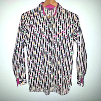 Vintage Long sleeve Shirt Womens Southwestern Southwest Party Shirt Cowgirl Button Up Colorful Shirt Size Small