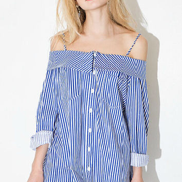 Blue and White Striped Off-the-Shoulder Dress