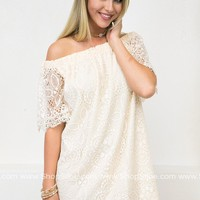 Off Shoulder Vanilla Lace Dress