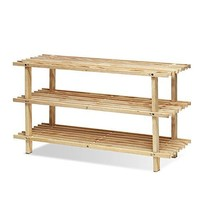 Furinno Pine Solid Wood 3-Tier Shoe Rack, Natural -Furinno