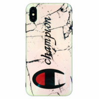 Champion Tide brand couple Blu-ray marble iPhone7plus mobile phone case cover White