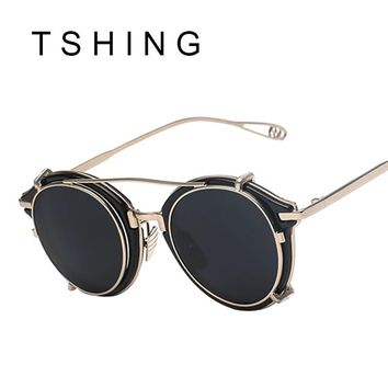 TSHING New Steampunk Round Sunglasses Men Women Fashion Brand UV400 Alloy Frame Steam punk Mirror Clip Sun Glasses Male Female