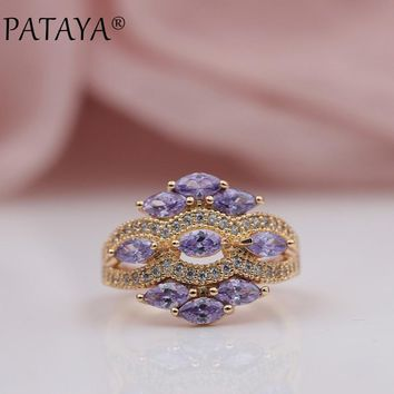 PATAYA New Arrivals 585 Rose Gold Micro-wax Inlay Horse Eye Purple Natural Zircon Rings Women Wedding Party Luxury Fine Jewelry